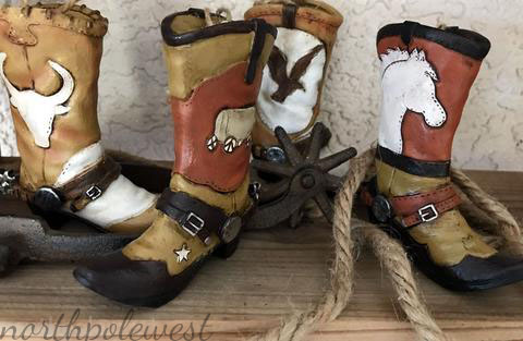 4 cowboy boot Christmas ornaments