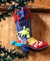 barrel racer rodeo cowboy boot Christmas ornament
