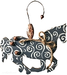 Blue Swirl Horse Ornament