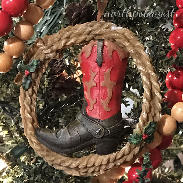 red cowboy boot with lasso country western christmas ornament