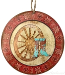 Cowboy Boots & Wagon Wheel Medallion Ornament