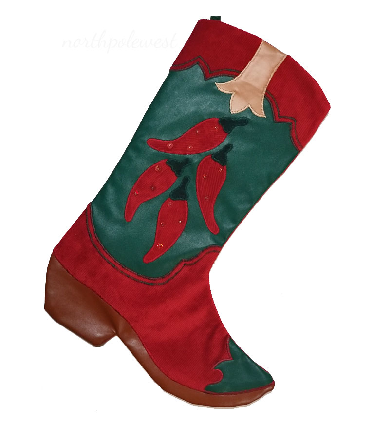 """""""Red Hot Chili"""" Cowboy Boot Christmas Stocking"""