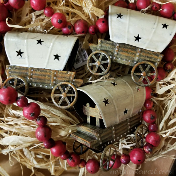 covered wagon western cowboyboy Christmas ornaments