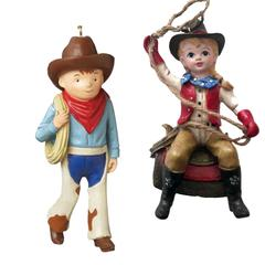 cowboy cowgirl on saddle christmas ornaments