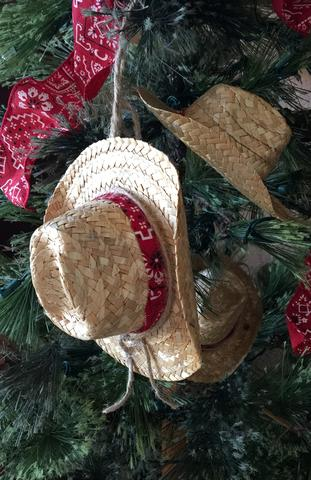 straw cowboy hat Christmas ornament