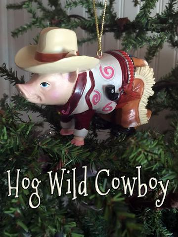 cute sheriff cowboy pig Christmas ornament