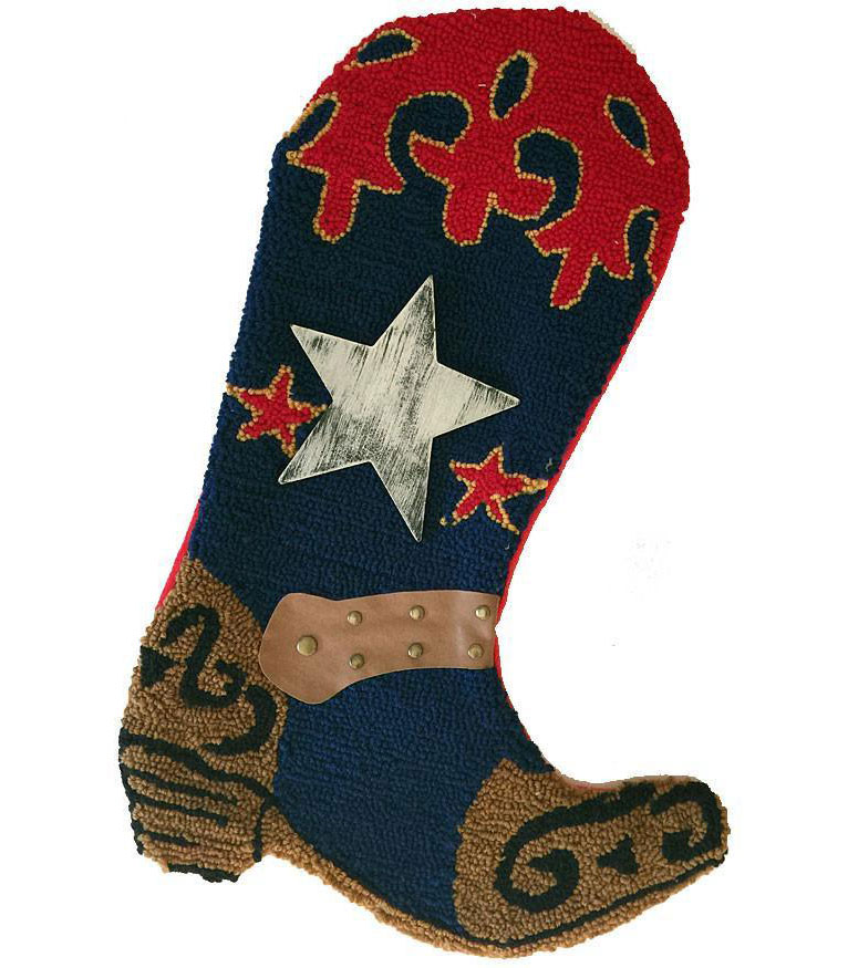 Cowboy Boot Christmas Stocking - Rug Hooked- Bronco Blue