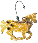Yellow Swirl Horse Ornament