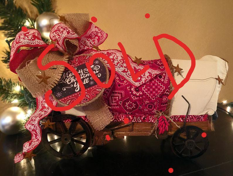 Cowboy Christmas Covered Wagon  -