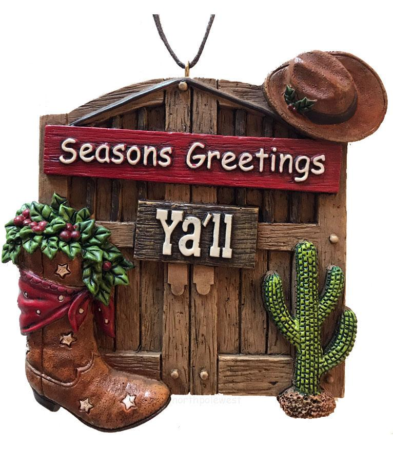 Cowboy Christmas Ornament - Barn Door Seasons Greetings Y'all