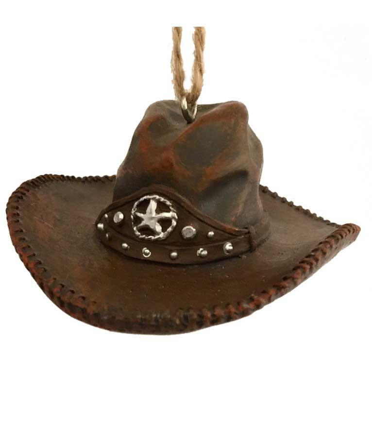 Cowboy Christmas Ornament - Brown Cowboy Hat with Star