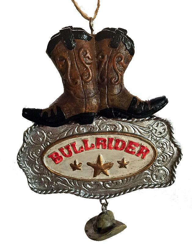 Cowboy Christmas Ornament - Bull Rider Buckle  with Cowboy Boots & Hat