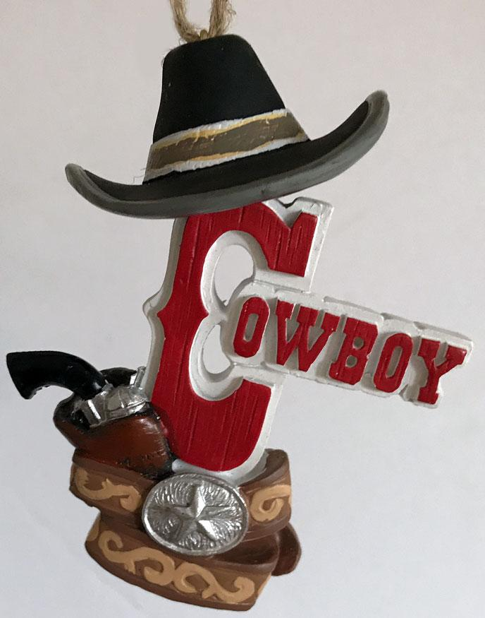Cowboy Christmas Ornament - Cowboy Black Hat & Holster