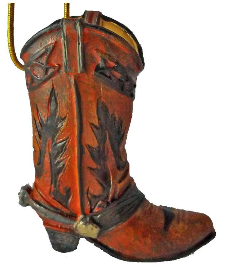 Cowboy Christmas Ornament - Cowboy Boot - Bronco Brown
