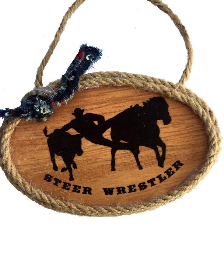 Cowboy Christmas Ornament - Steer Wrestler