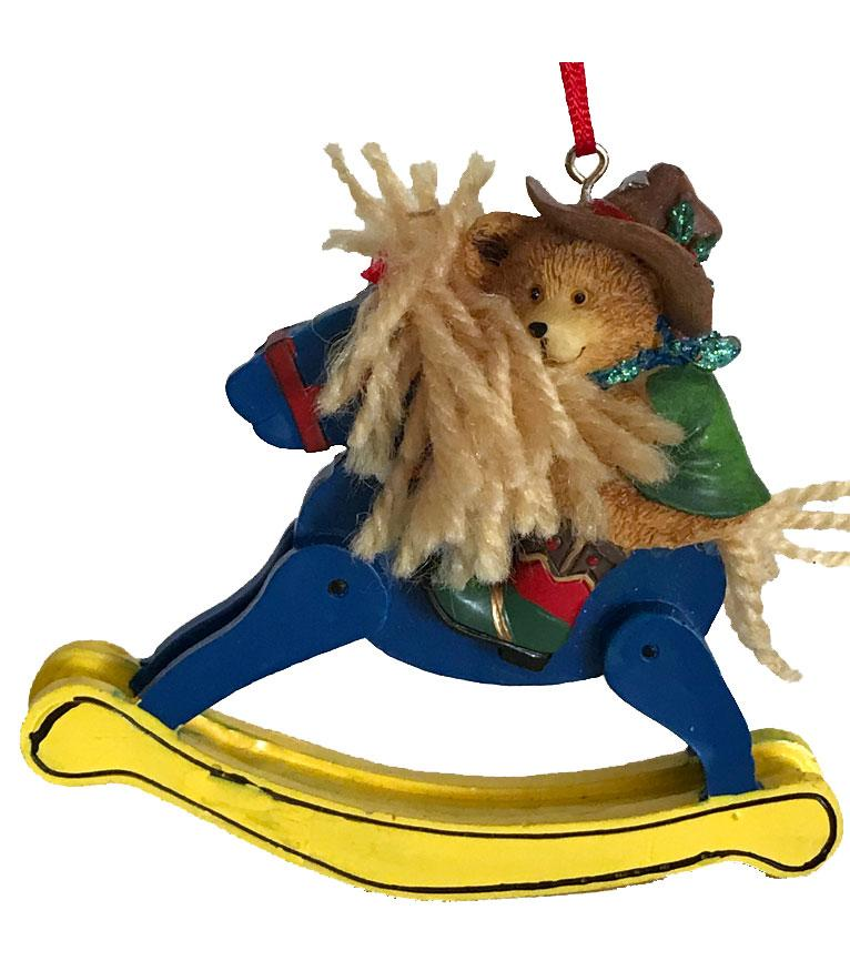 Cowboy Christmas Ornament- Cowboy Bear on Rocking Horse-  SALE