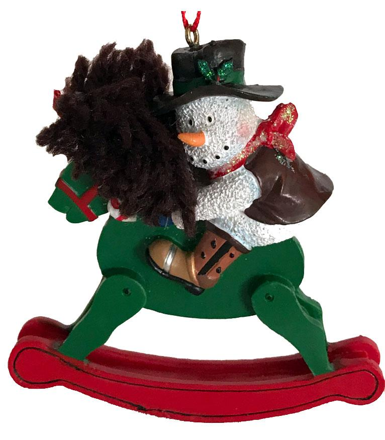 Cowboy Christmas Ornament- Cowboy Snowman on Rocking Horse