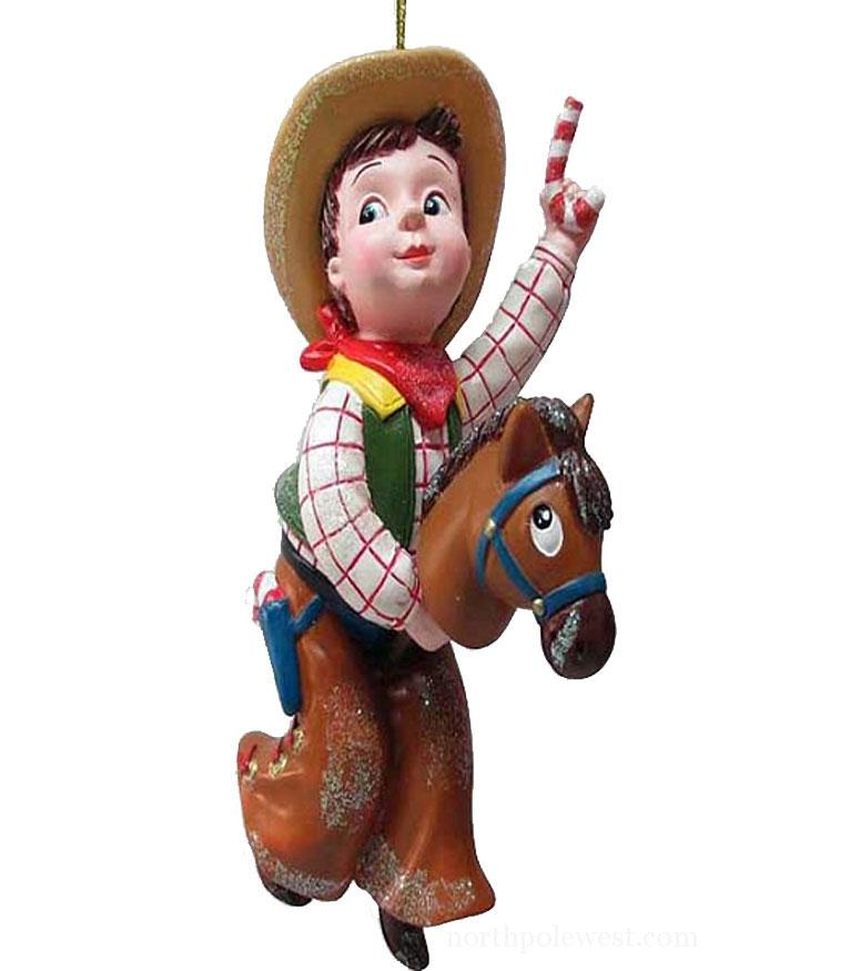 Cowboy Christmas Ornament- Vintage Cowboy on Stick Pony with Candy Cane
