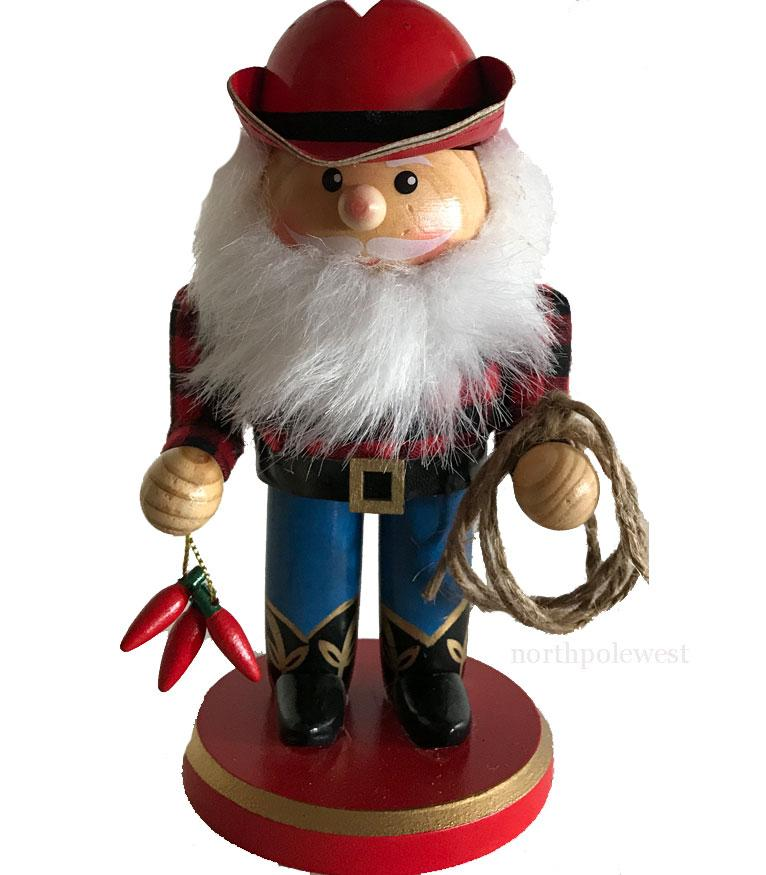 Cowboy Nutcracker with Rope & Chilies - Cowboy Santa
