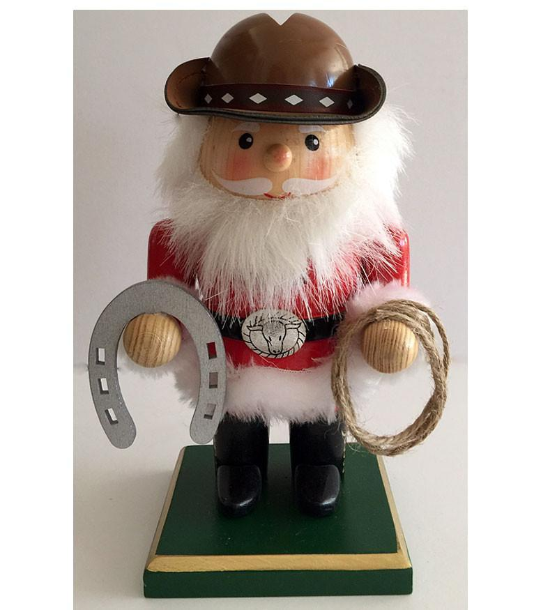 Cowboy Nutcracker with Rope & Horseshoe - Cowboy Santa