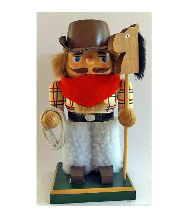 Cowboy Nutcracker with Stick Pony - Wild & Woolley Willie