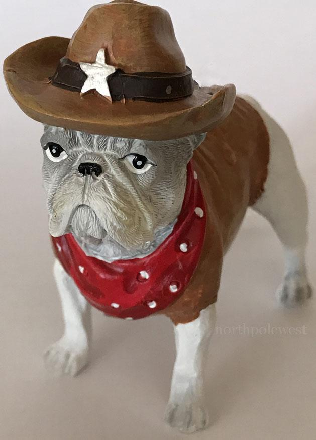 Cowboy Pug Dog Christmas Ornament -