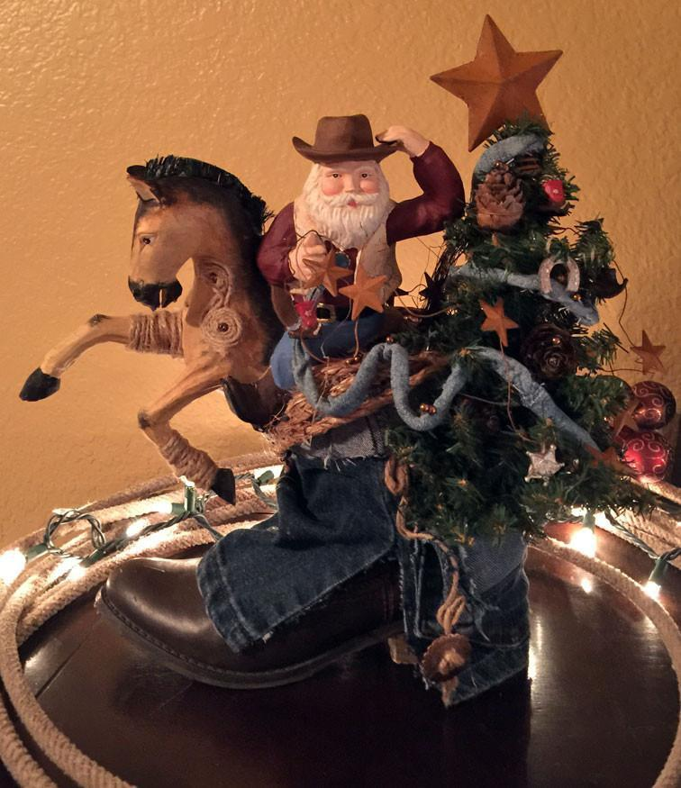 Cowboy Santa with Horse & Tree in Cowboy Boot  -