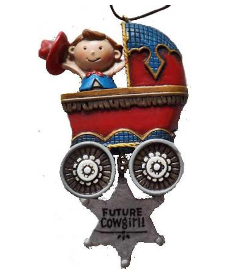 Cowgirl Baby in Stroller Ornament - Sale