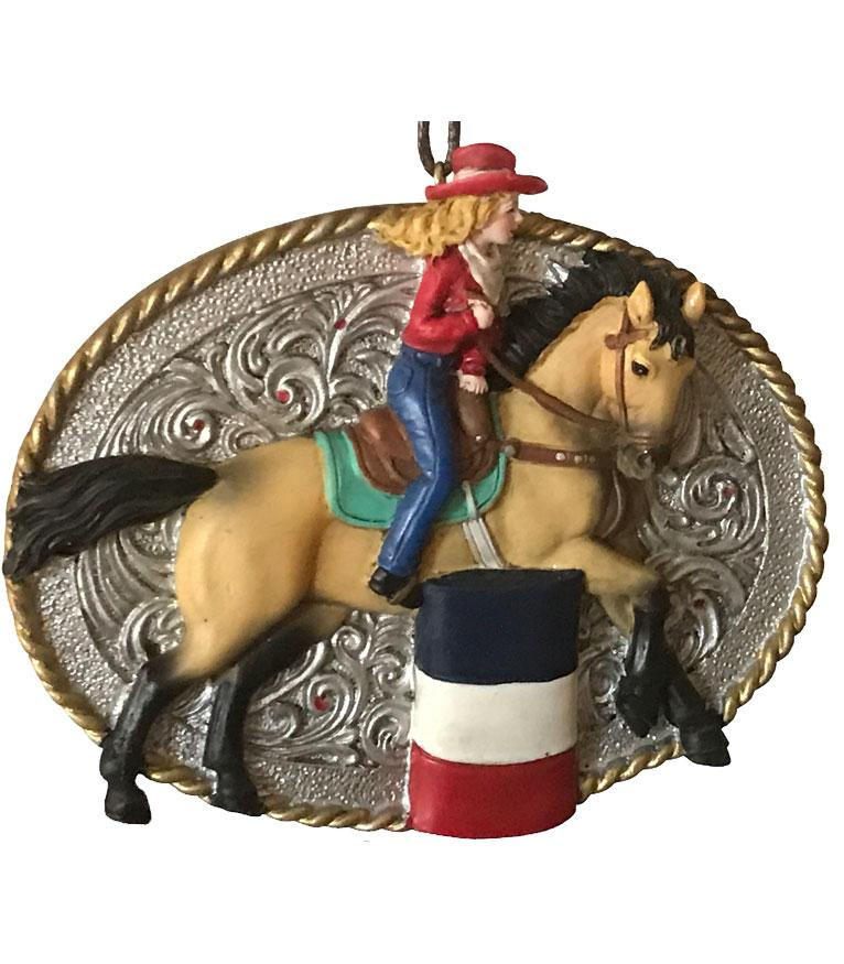Cowgirl Barrel Racer Rodeo Christmas Ornament
