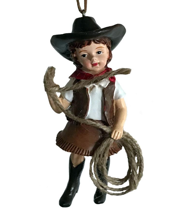 Cowgirl Christmas Ornament - Cute Vintage Roper
