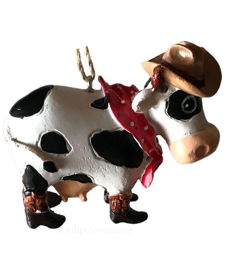 Cute Cowgirl Cow Christmas Ornament -