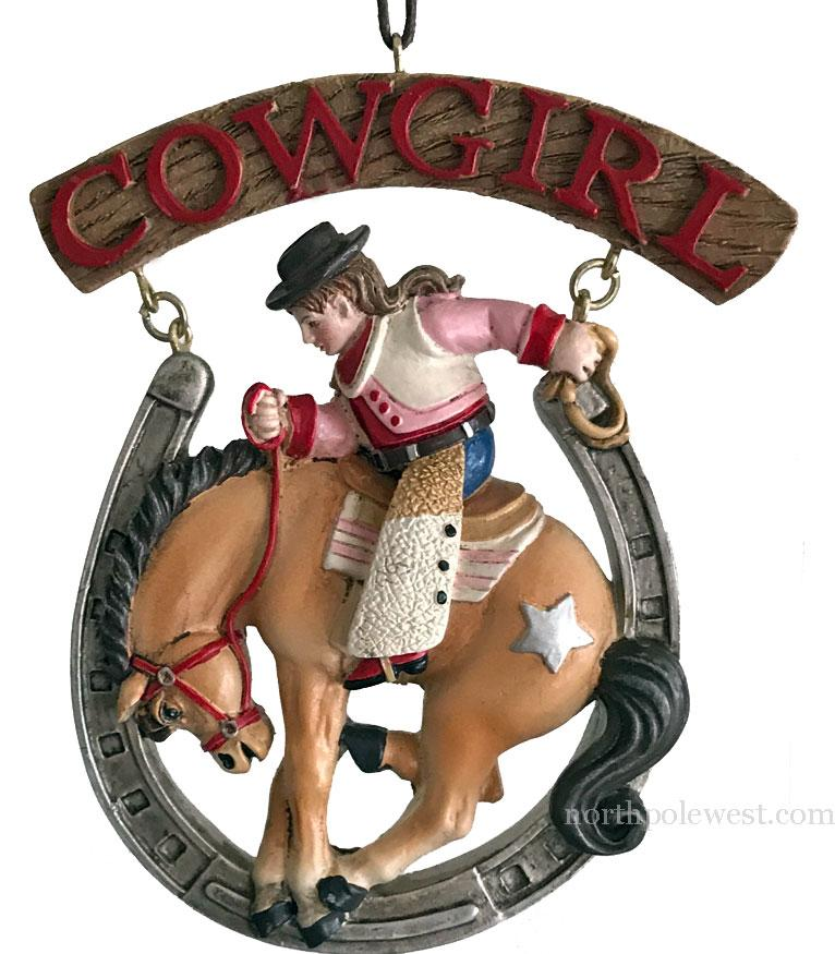 Lucky Rodeo Cowgirl Ornament - Cowgirl on Bronc in Horseshoe