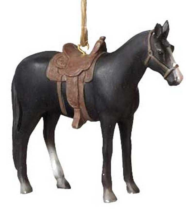 Rodeo Saddle Horse Ornament - Black