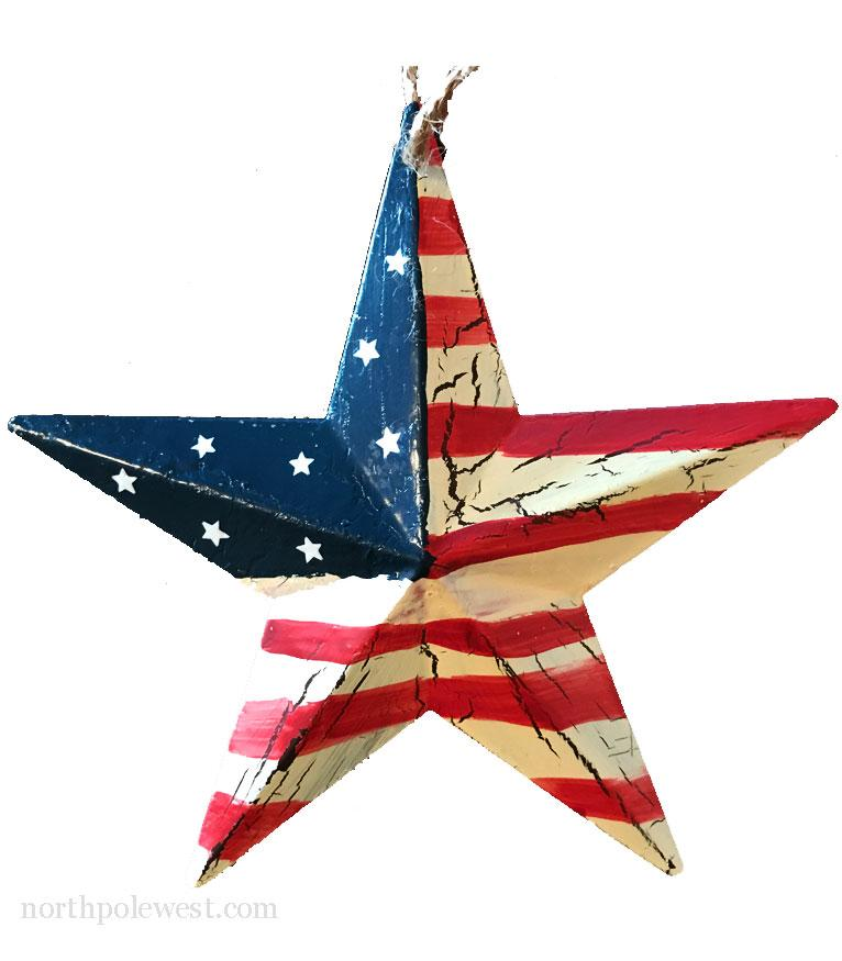 Rustic Flag Star Ornament