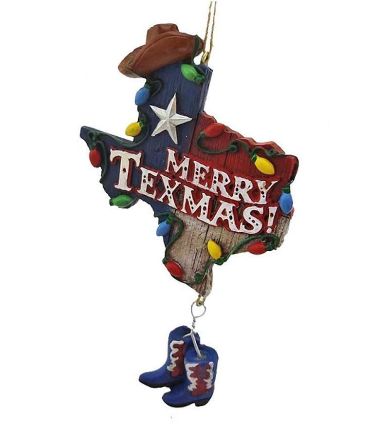 Texas Christmas Ornament- Merry Texmas with cowboy hat and boots