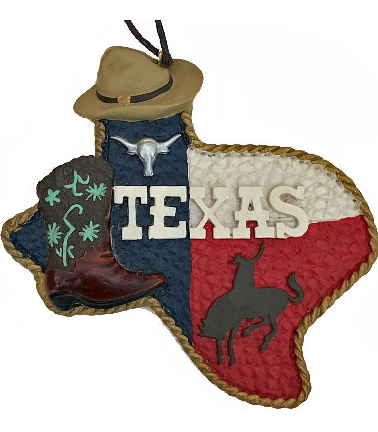 Texas Map with Cowboy Hat Christmas Ornament