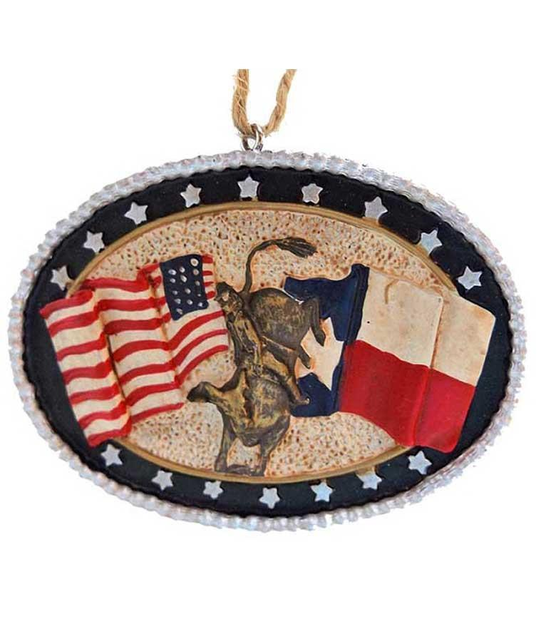Texas Usa Bull Rider Buckle Ornament