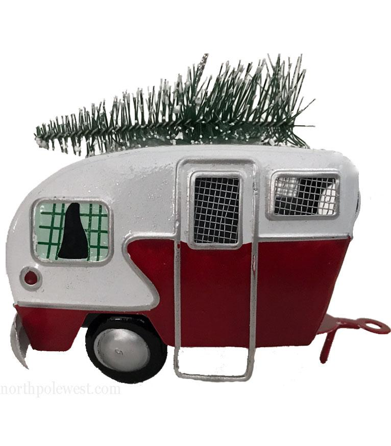 Trailer Camper with Christmas Tree Ornament