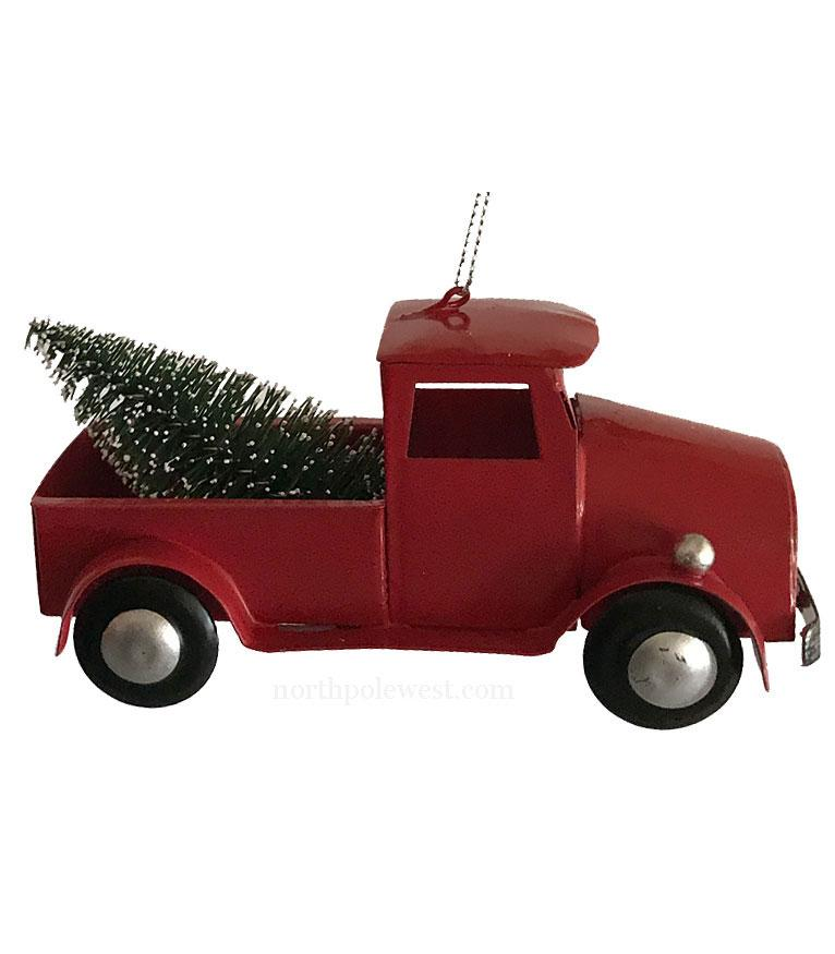 Western Christmas Ornament - Red Pick-Up Truck