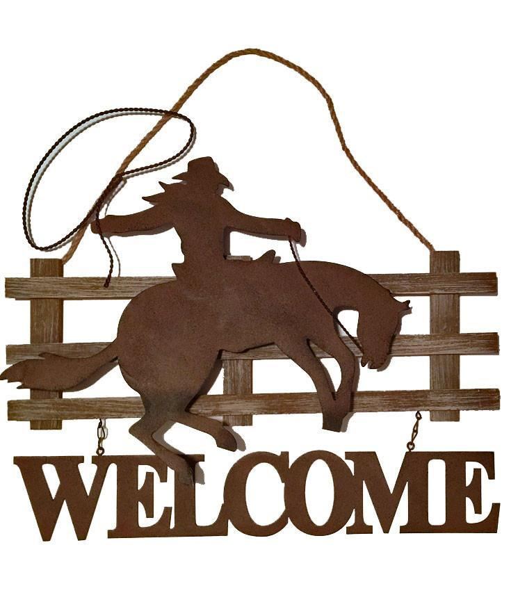 Western Welcome Sign - Cowboy & Horse Lasso Fence - Sale
