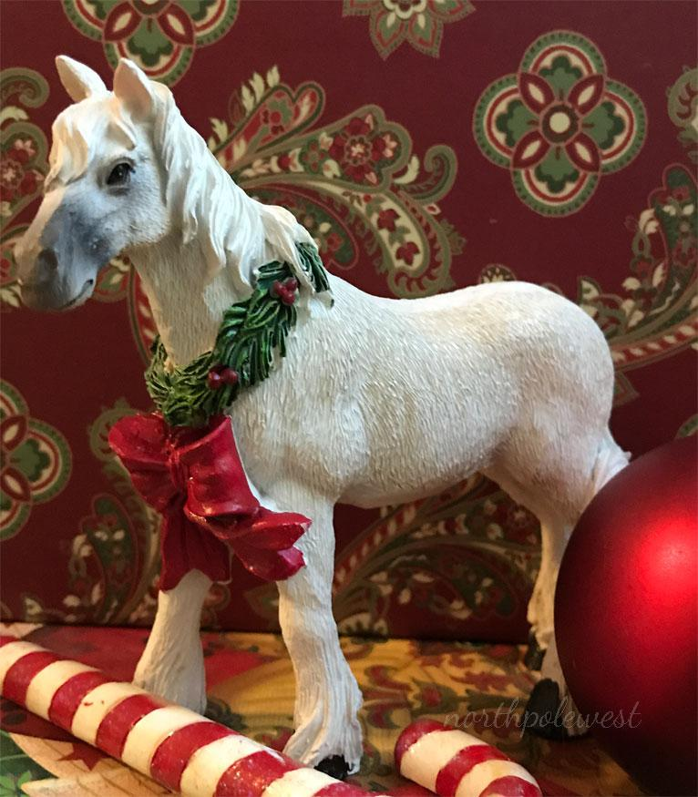 White Horse with Christmas Wreath Decor -