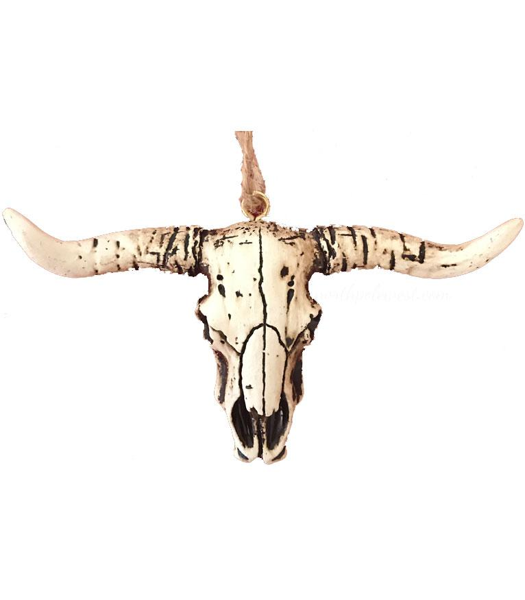Wild West Longhorn Steer Skull Ornament