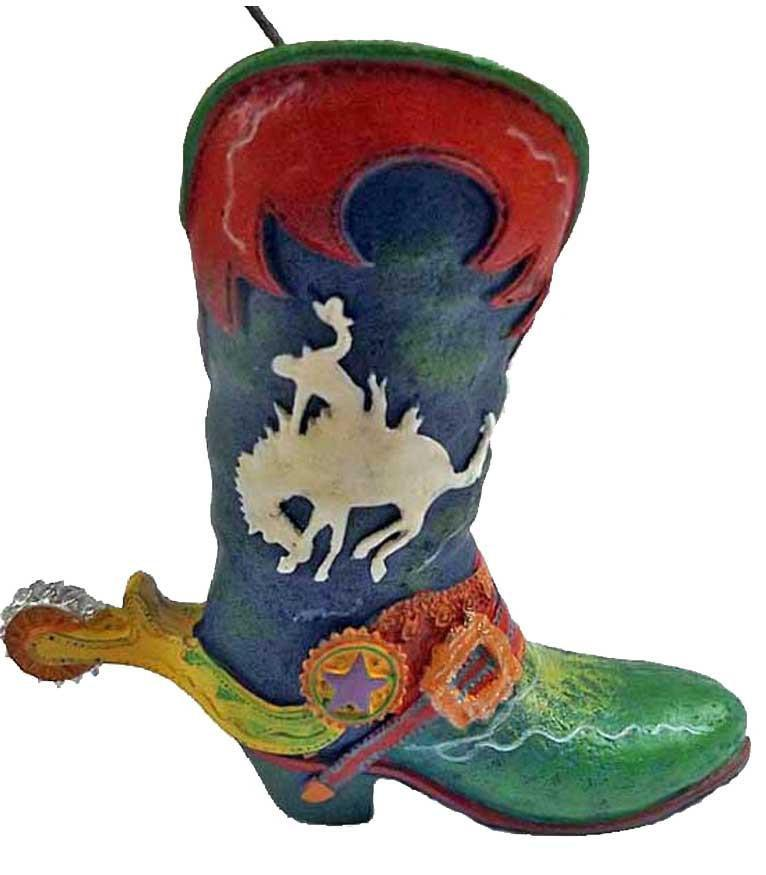 Wild West Rodeo Cowboy Boot Ornament- Bronc Buster