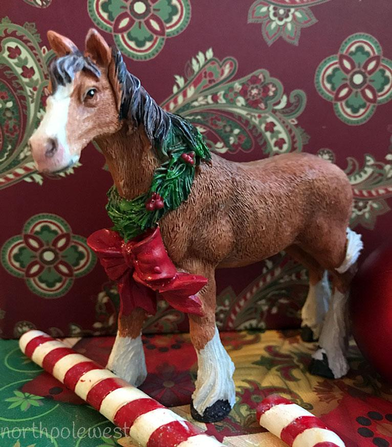 Brown Horse with Christmas Wreath Decor -