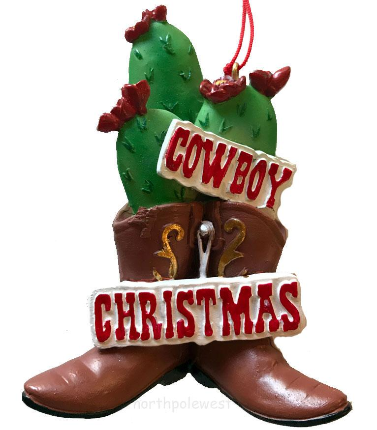 Cactus Cowboy Boot Christmas Ornament