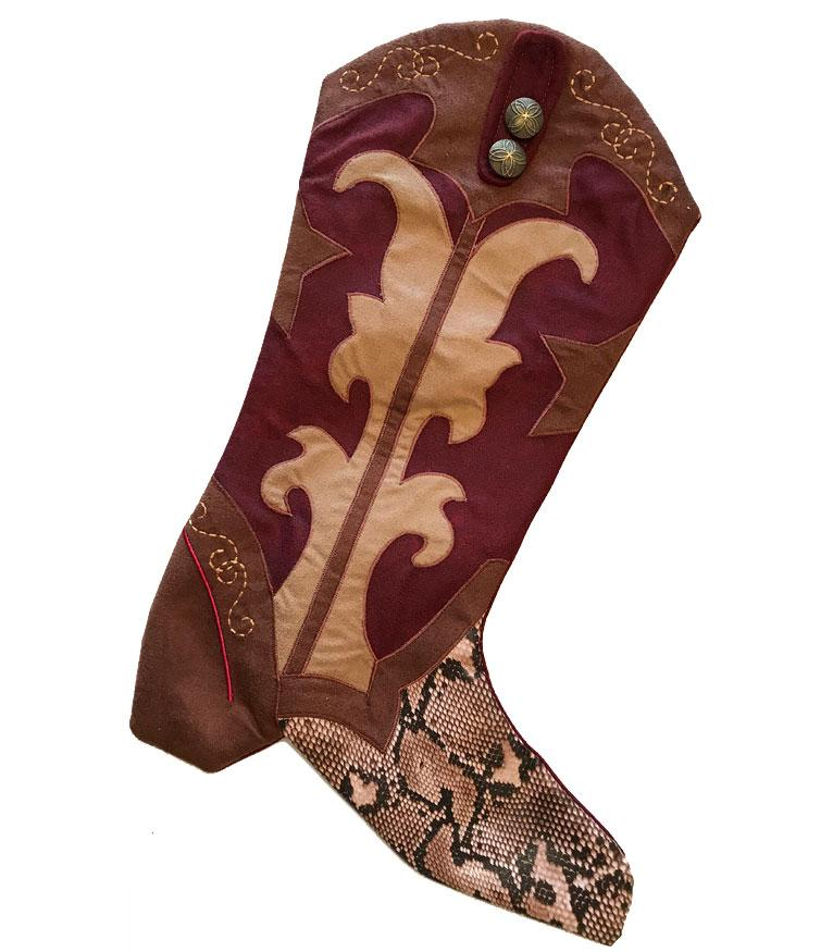 Cowboy Boot Christmas Stocking- Rattlesnake Ridge- Crimson
