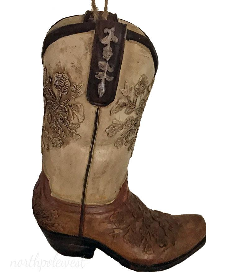 """Cowboy Boot Ornament - Tan/Brown Embossed- """"The Wild Rose"""""""