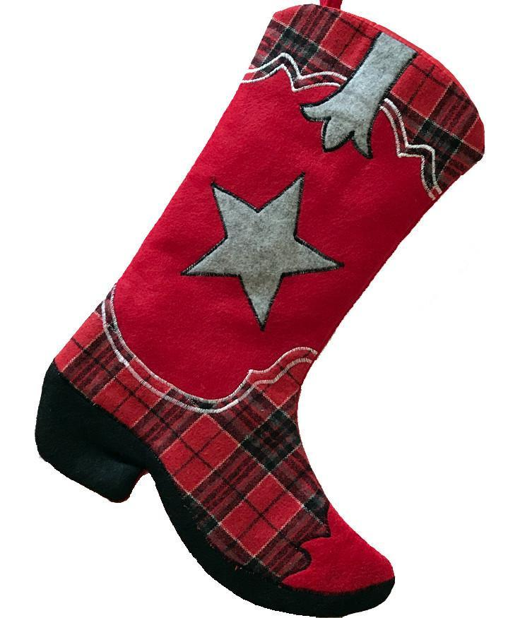 Cowboy Boot Stocking - Red Plaid Ponderosa