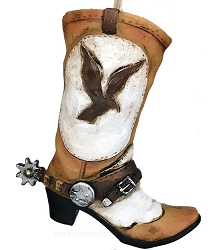 Cowboy Boot with Spur Christmas Ornament - Eagle
