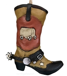 Cowboy Boot with Spur Christmas Ornament - Westward Ho